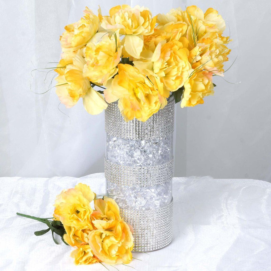 60 Wholesale Artificial Bridal Bouquet Peony Silk Flowers Home ...