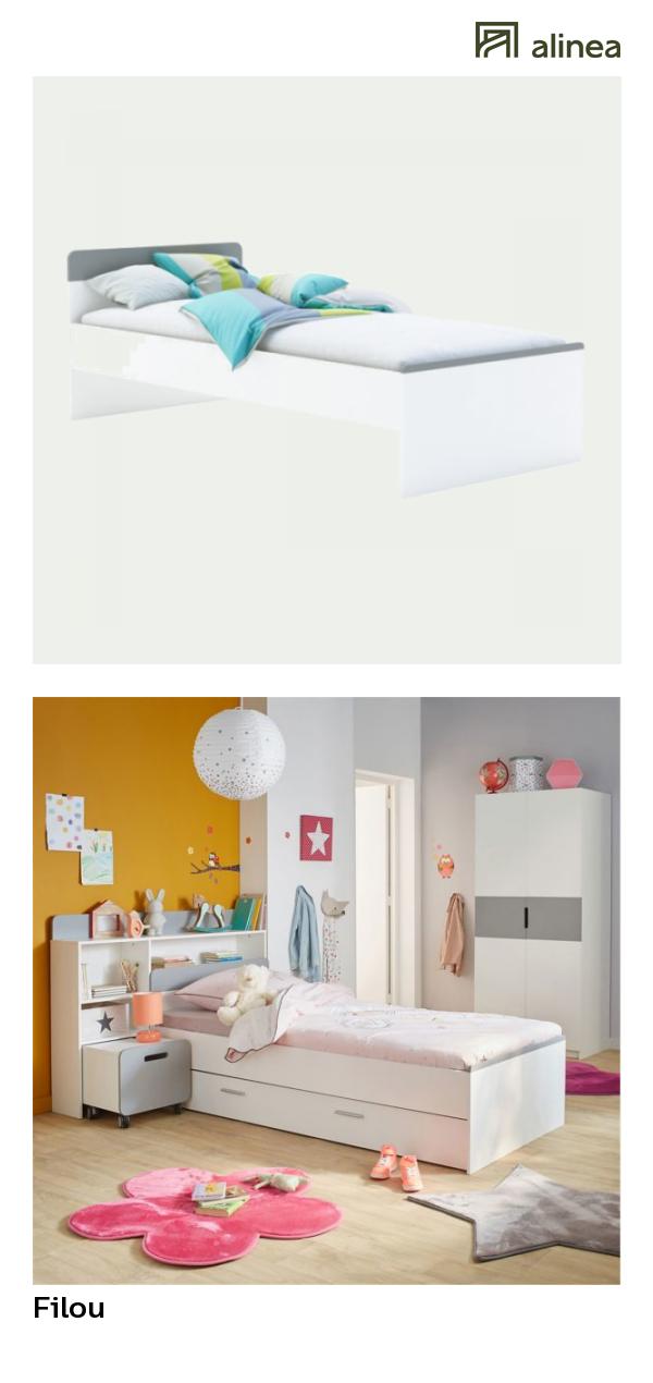 Alinea Filou Lit 1 Place Blanc 90x200cm Adaptable En 190cm
