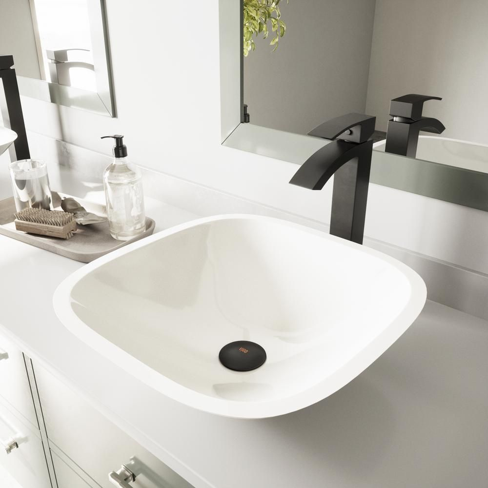 Vessel Bathroom Sink In Square White Phoenix Stone And Duris Faucet Set In Matte Black Vessel Sink Bathroom Glass Vessel Sinks Sink
