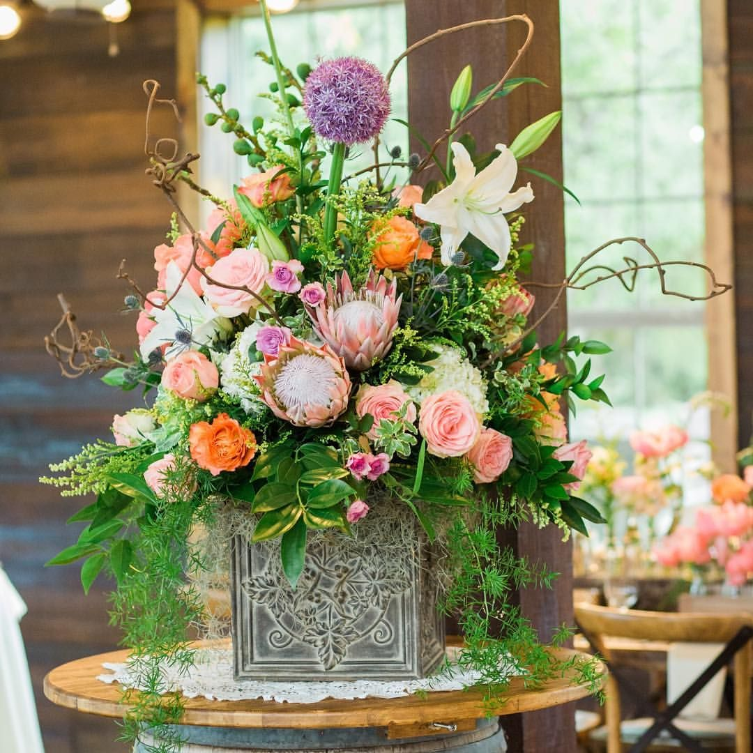 Bright Spring Flowers For Ranch Wedding Reception At