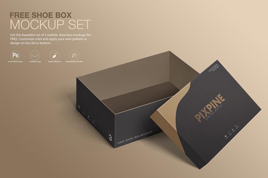 Download Free Shoe Box Mockup Set Free Design Resources Box Mockup Design Mockup Free Design Freebie