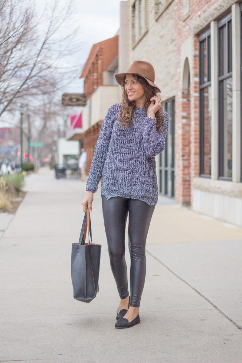 Oversized Sweater Leather Leggings Hat Flats | Long Sweaters ...