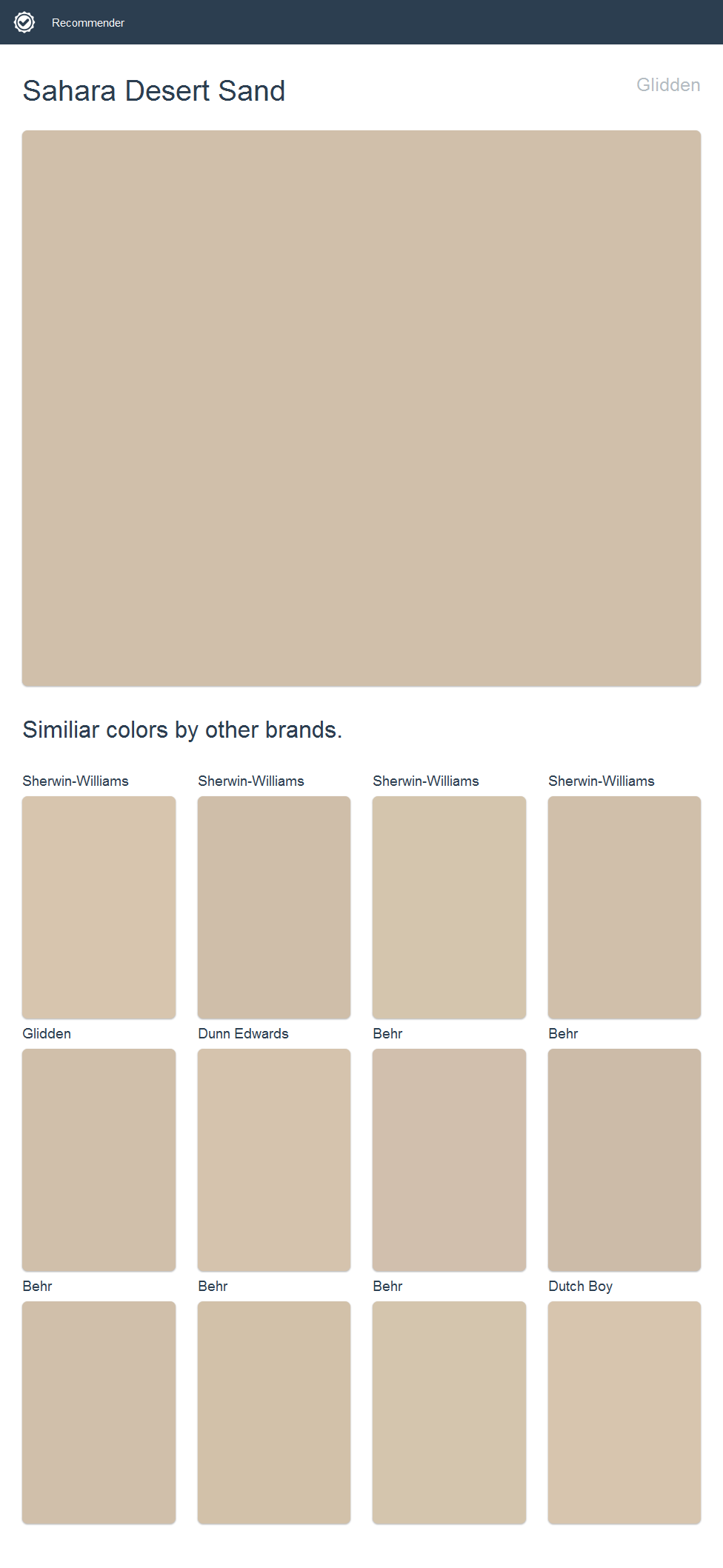 Sahara Desert Sand Glidden Click The Image To See Similiar Colors By Other Brands