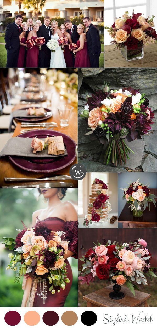 Wedding trends 10 fantastic burgundy color combos for 2017 burgundy and peach rustic fall wedding colors ideas junglespirit Choice Image