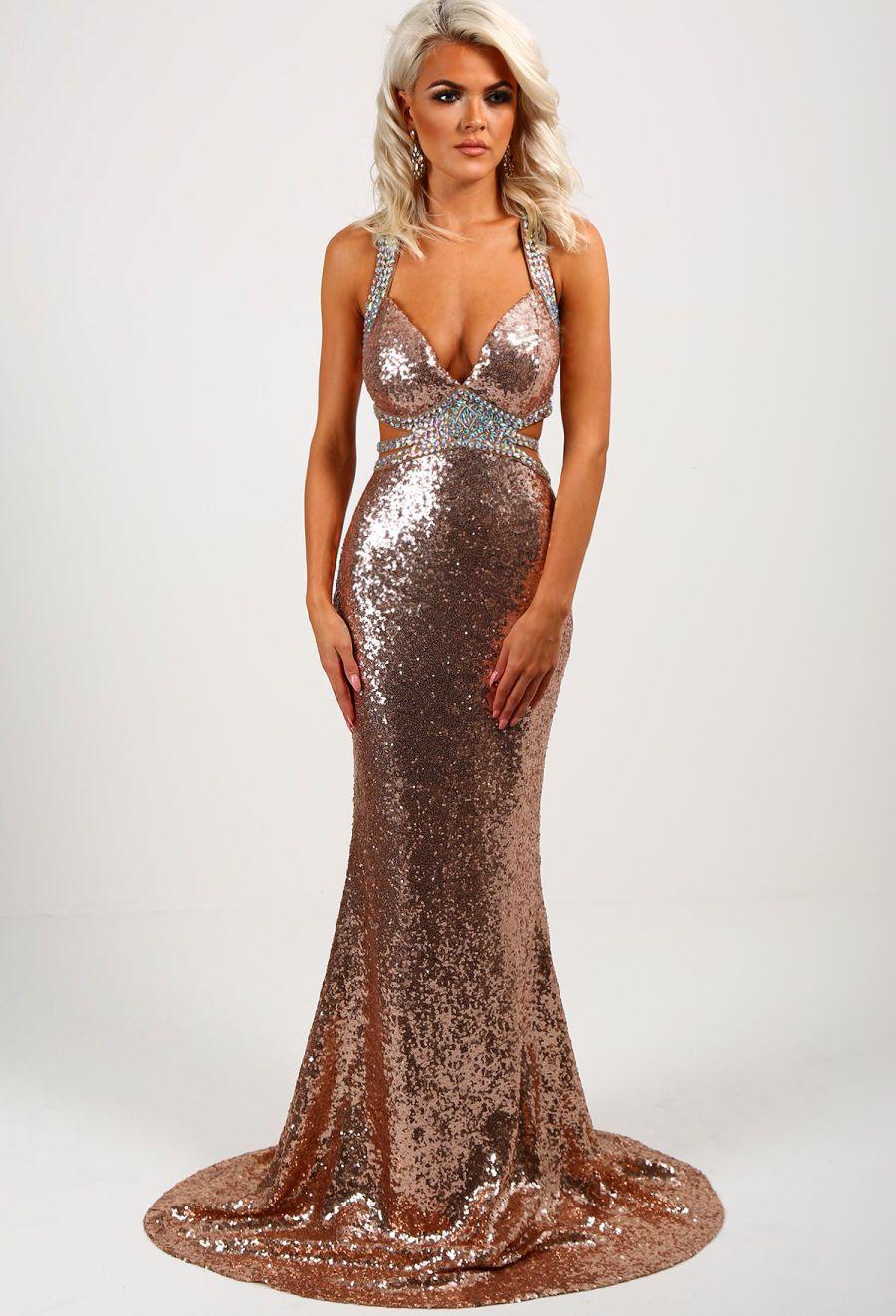 84882384d47f Goal Digger Rose Gold Embellished Sequin Maxi Dress - 8 | Capsule ...