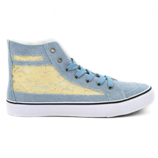 High top converse inspired shoe with laced design. Available in Blue, Black and Beige.