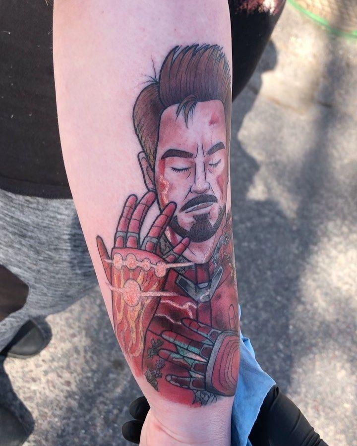 Iron Man tribute for the very sweet Sam based off of a drawing she brought in ✨💔 . . . . . . . . #tattoo #tattoos #montana #missoula #alteredskintattoos #alteredskin #universityofmontana #ironmantattoo #montanatattoos #ironman #colortattoo #artistsoninstagram #recent4recent #like4like #art #like #follow #tattooartist #marvel #webstagram #love #marveltattoo #instagood #forearmtattoo #eternalink #fusionink #tattoosofinstagram #ink #tattoolove #tattooedgirl