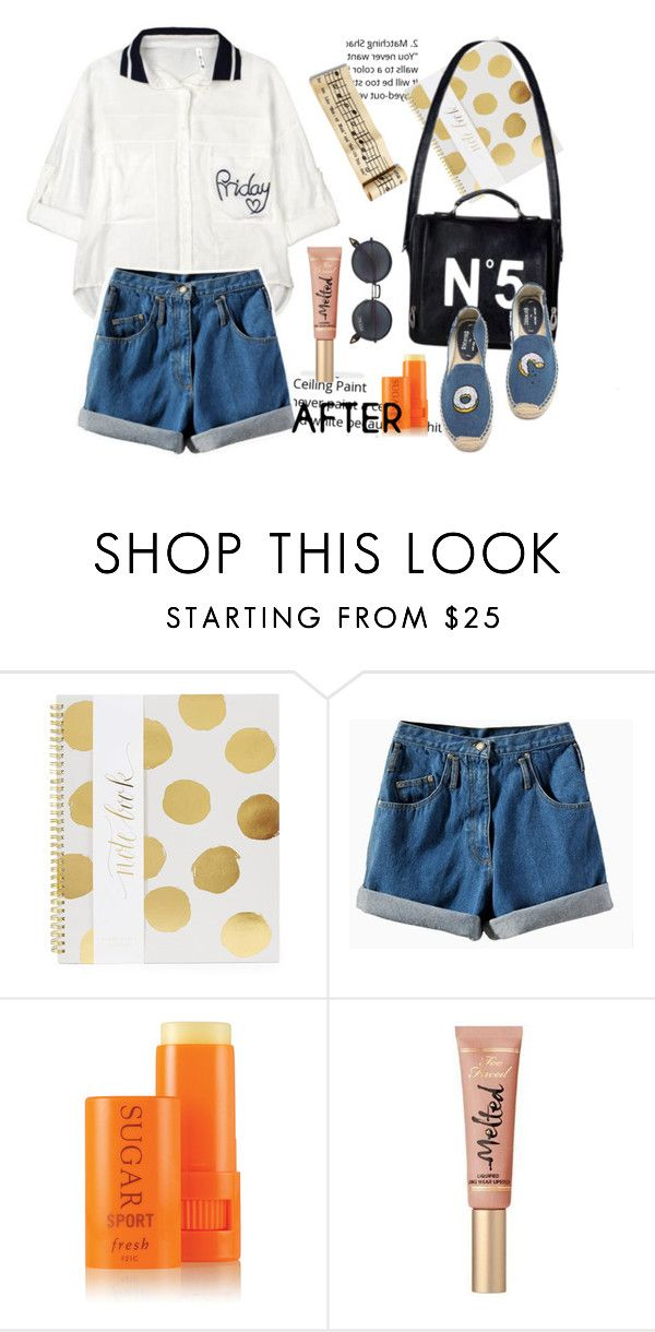 """""""🤒"""" by ngocdinh ❤ liked on Polyvore featuring Sugar Paper, Soludos, Fresh and Too Faced Cosmetics"""