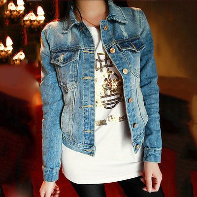 Fashion Women Ladies Cotton Jeans Denim Jacket Long Sleeve Short Coat Outerwear - EXCLUSIVE DEAL! BUY NOW ONLY $15.12