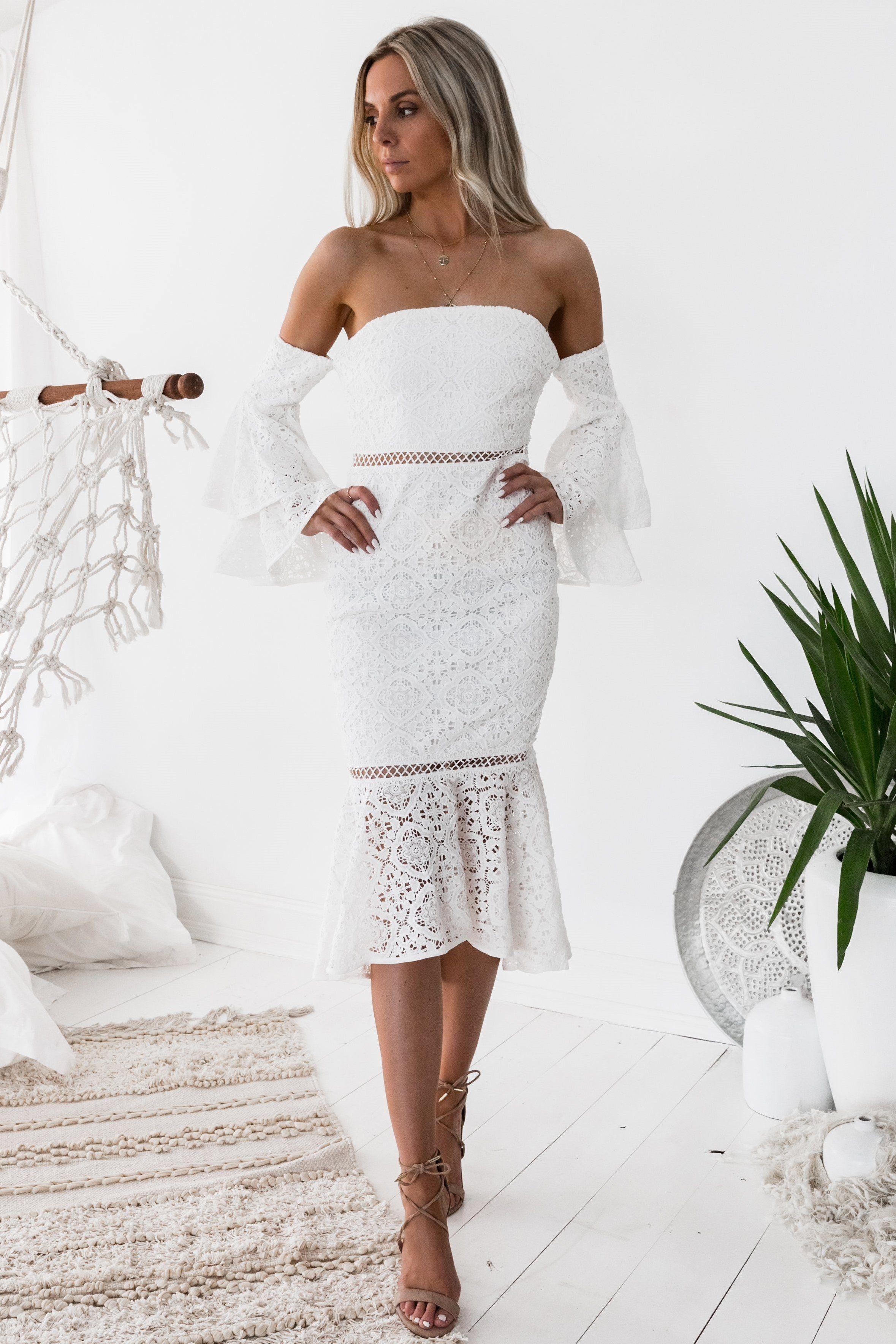 Brianna Dress White Preorder Lace White Dress Engagement Party Dresses Lace Dress [ 3536 x 2358 Pixel ]