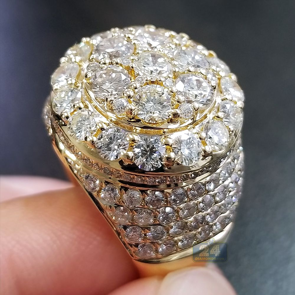 Impressively designed Mens 6.24 ct Diamond Cluster Ring in 14K ...