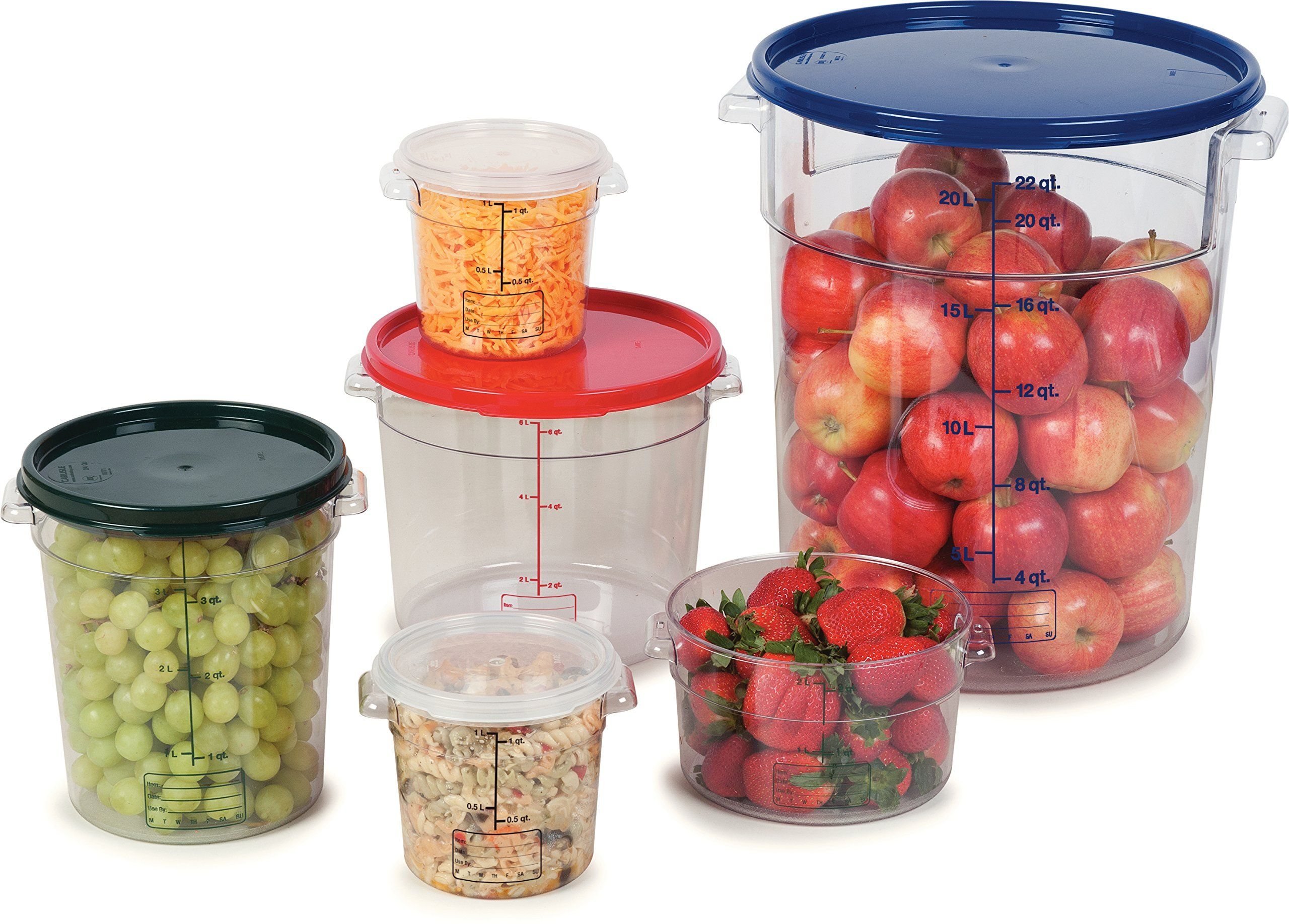 Carlisle 1076107 Storplus Polycarbonate Round Container 1 Quart Capacity Clear Case Of 12 Lear Kitchen Supplies Kitchen Storage Organization Kitchen Storage