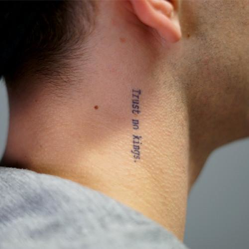 Sneferu By Atticus Is A Quotes Temporary Tattoo From Inkbox 0 Small Neck Tattoos Neck Tattoo Tattoos For Guys