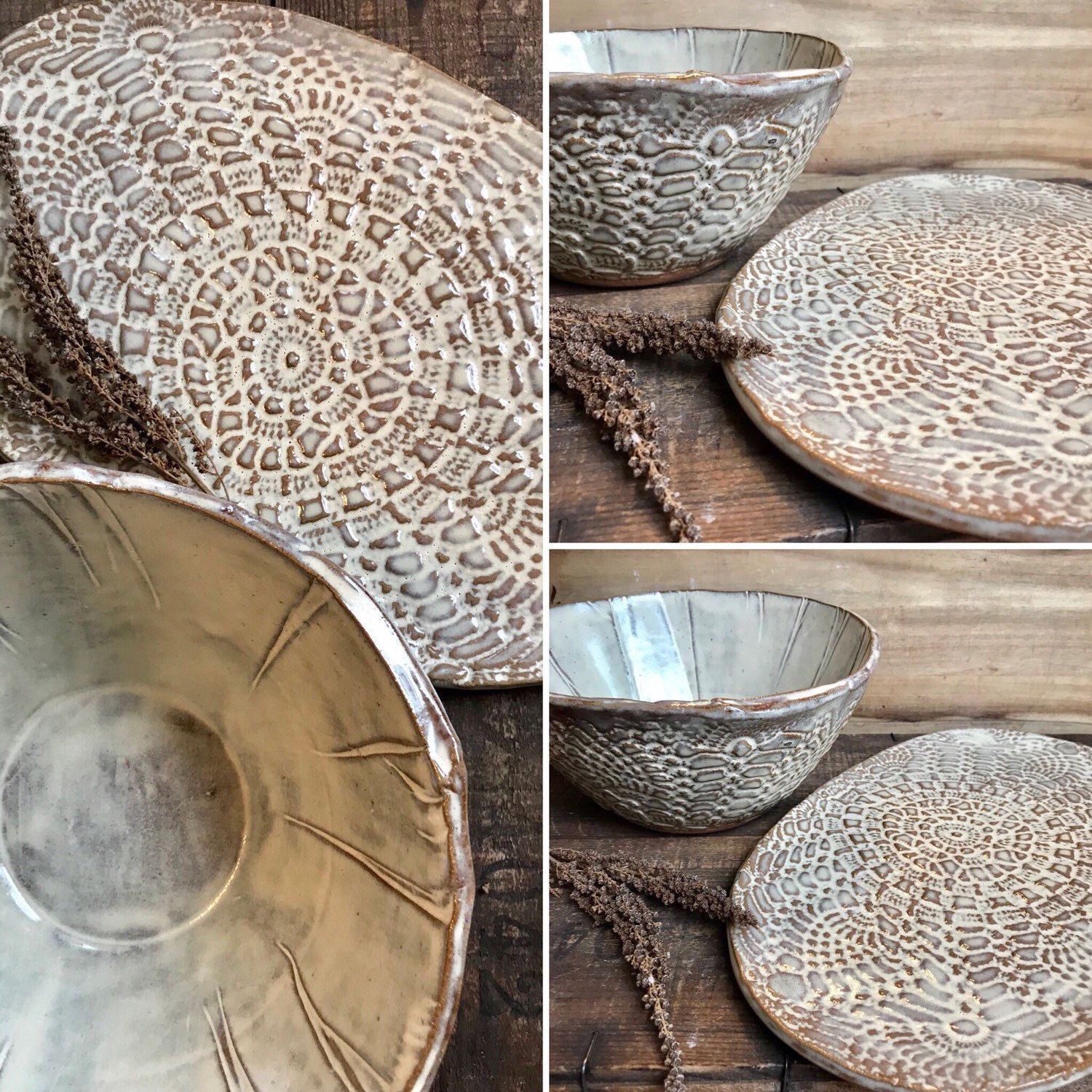 Custom made Crochet Doily serving ware and dinnerware available for order. This custom set is & Custom made Crochet Doily serving ware and dinnerware available ...