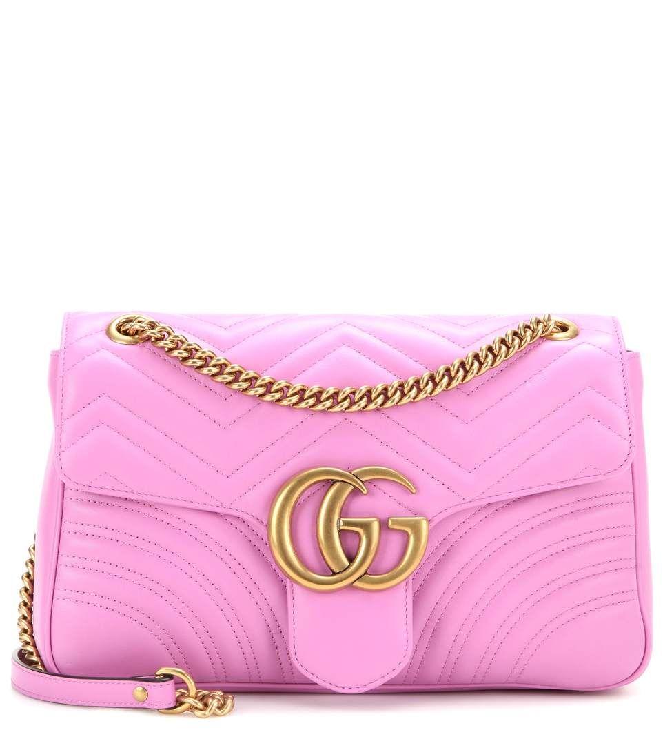GUCCI Gg Marmont Medium Matelassé Leather Shoulder Bag In Bright ...