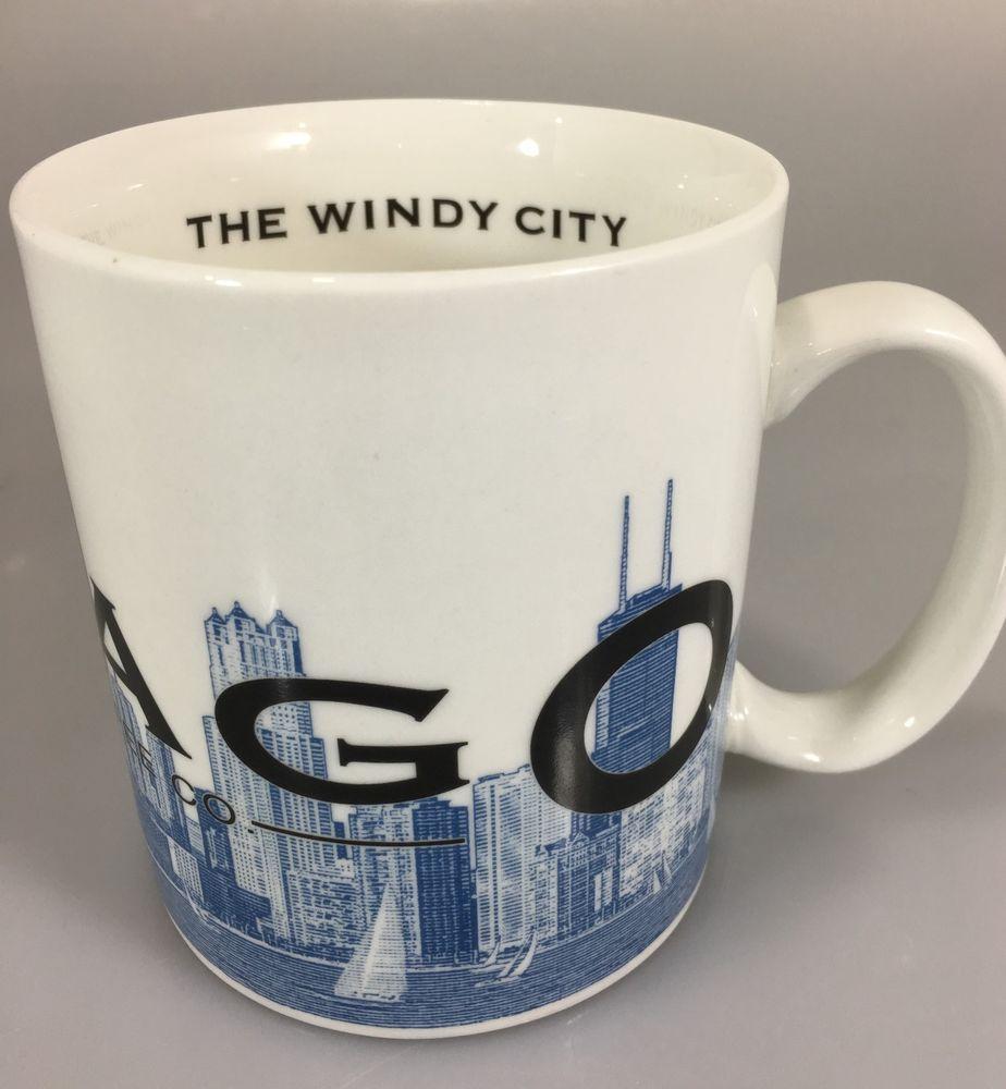 40d343f123b Starbucks Chicago Windy City Skyline Series One Coffee Mug Cup Barista 2002  #Starbucks