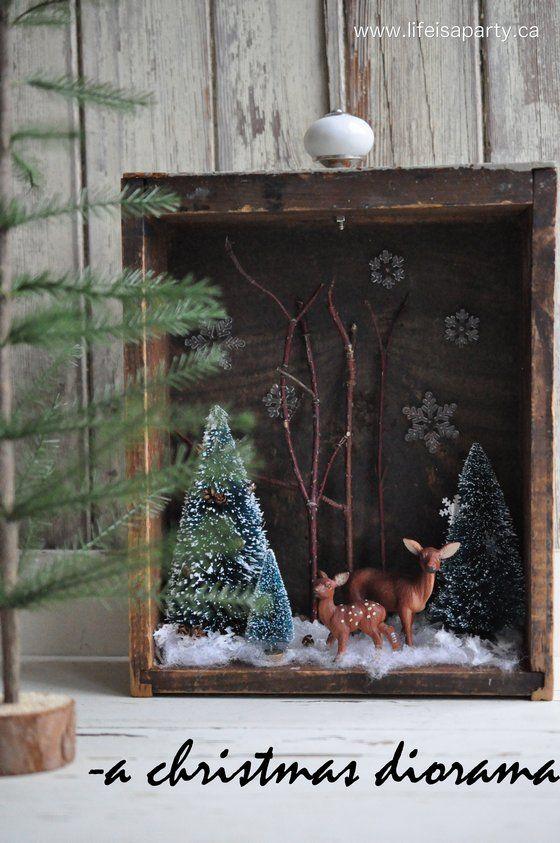 Diorama de navidad decoraci n r stica hecha de un caj n for Decoracion navidena rustica