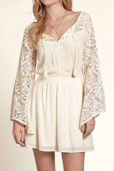 Openwork Lace Spliced Lace Up Beach Dress