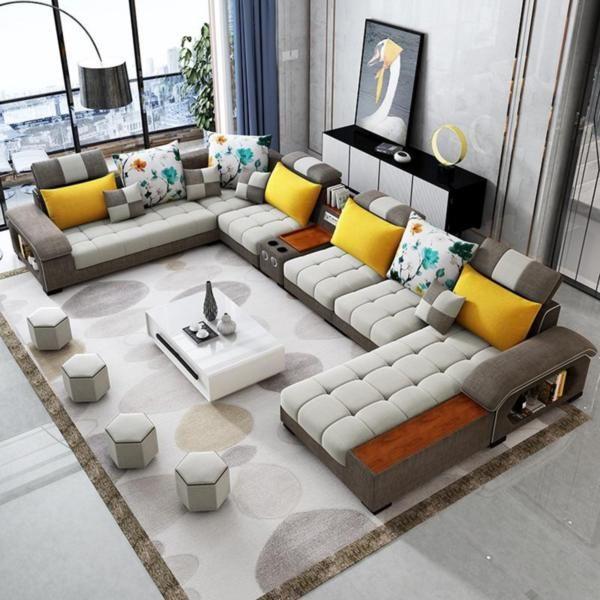Modern Luxury U Type Fabric Sofa In 2020 Corner Sofa Design Living Room Sofa Set Luxury Sofa Design