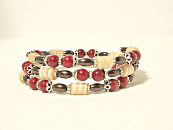 Bamboo Coral Cat's Eye and Pearl Wrap Bracelet by RomanticThoughts, $28.00