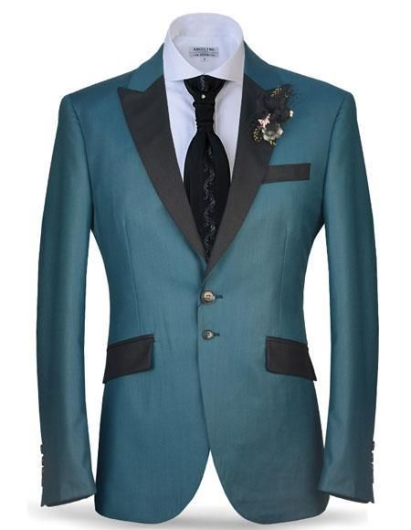 Angelino Brand Men\'s Two Buttons Black Satin Peak Lapel Steel Blue ...