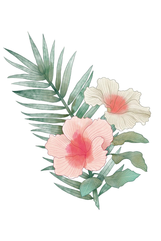 Tropical Wood Frame Tropical Floral Clipart Png Etsy Flower Illustration Clip Art Tropical Floral
