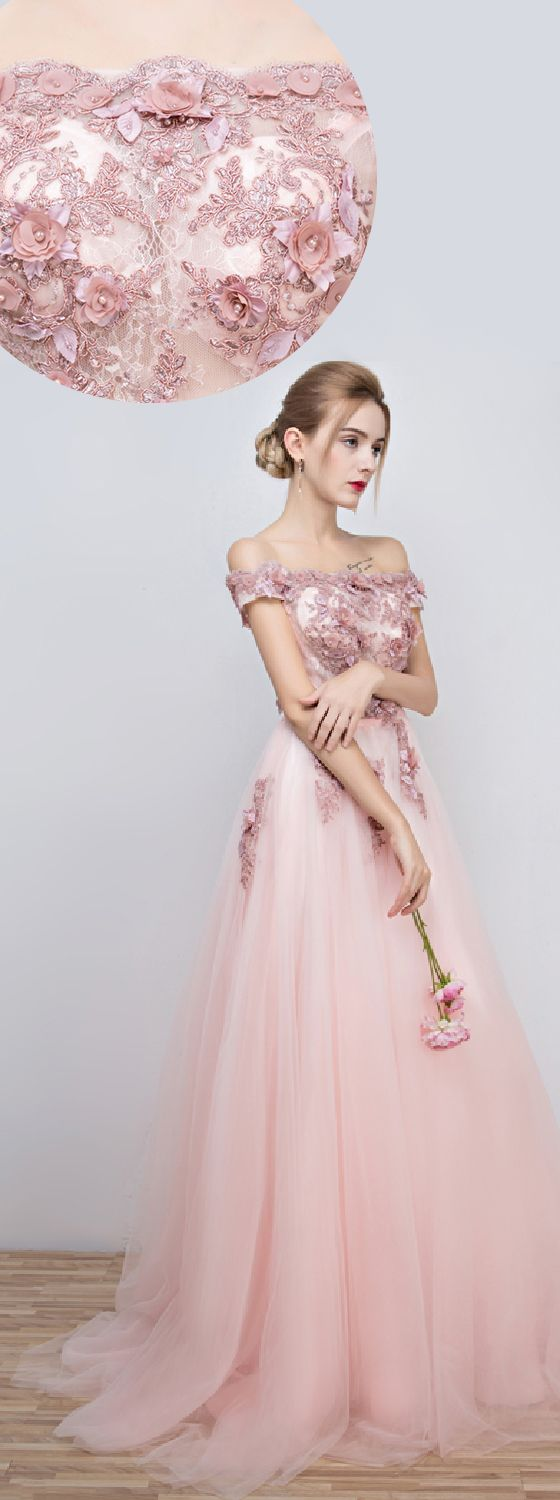 A-Line Off-the-shoulder Floor Length Tulle Formal Evening Dress with Beading