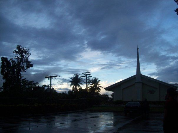 LDS chapel at sunset. Pohnpei Micronesia