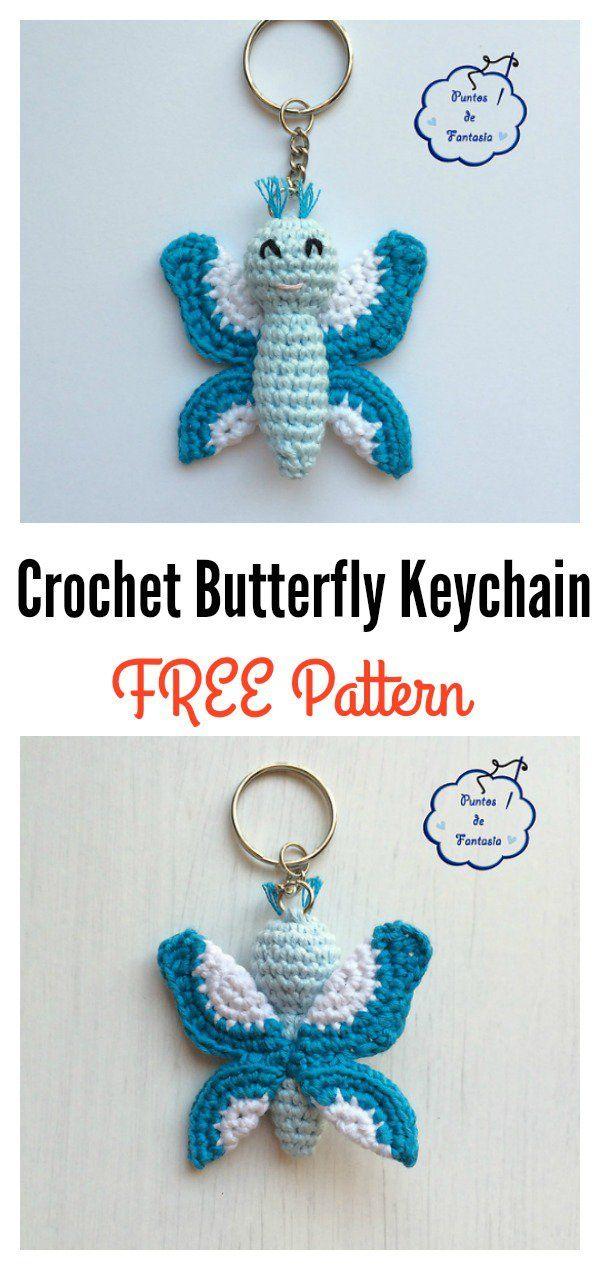 Crochet Butterfly Keychain Free Patterns | Patrón libre, Patrones y ...