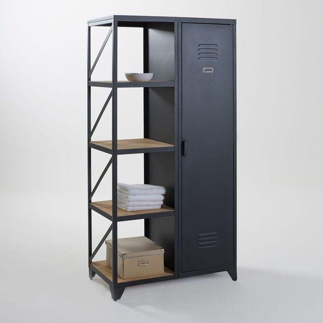 Armoire-étagère 1 porte, métal et pin huilé, Hiba Armoires - comment calculer le dpe d une maison
