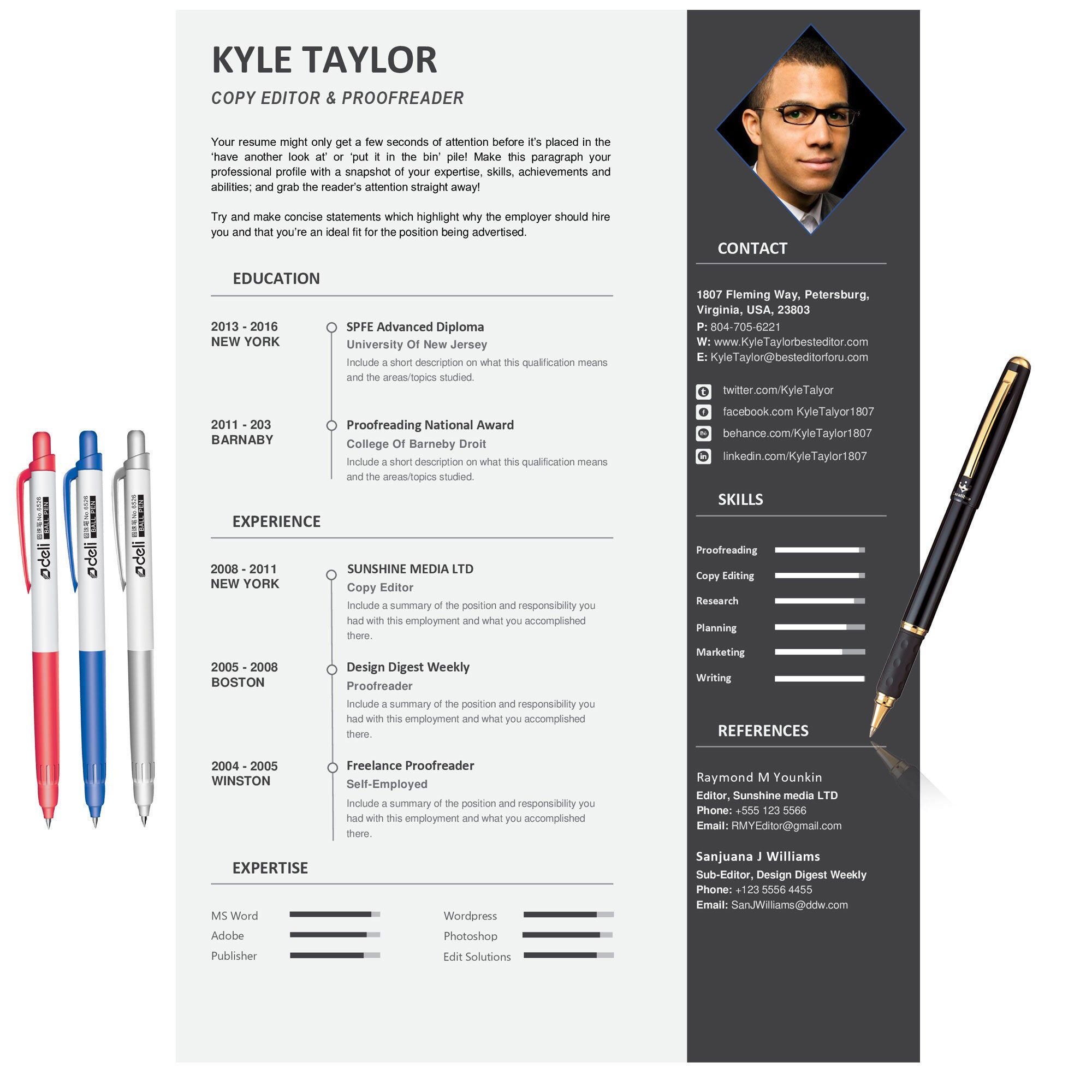 Curriculum vitae 1 page resume template matching cover