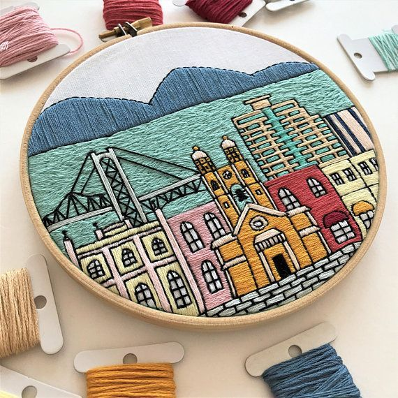 Florianopolis, Brazil. Hand Embroidery pattern PDF. Embroidery Hoop art. DIY. Wall Decor, Housewarming Gift. Free Hand embroidery guide! - #Art #brazil #Decor #DIY #embroidery #florianopolis #Free #gift #guide #hand #Hoop #housewarming #pattern #PDF #Wall