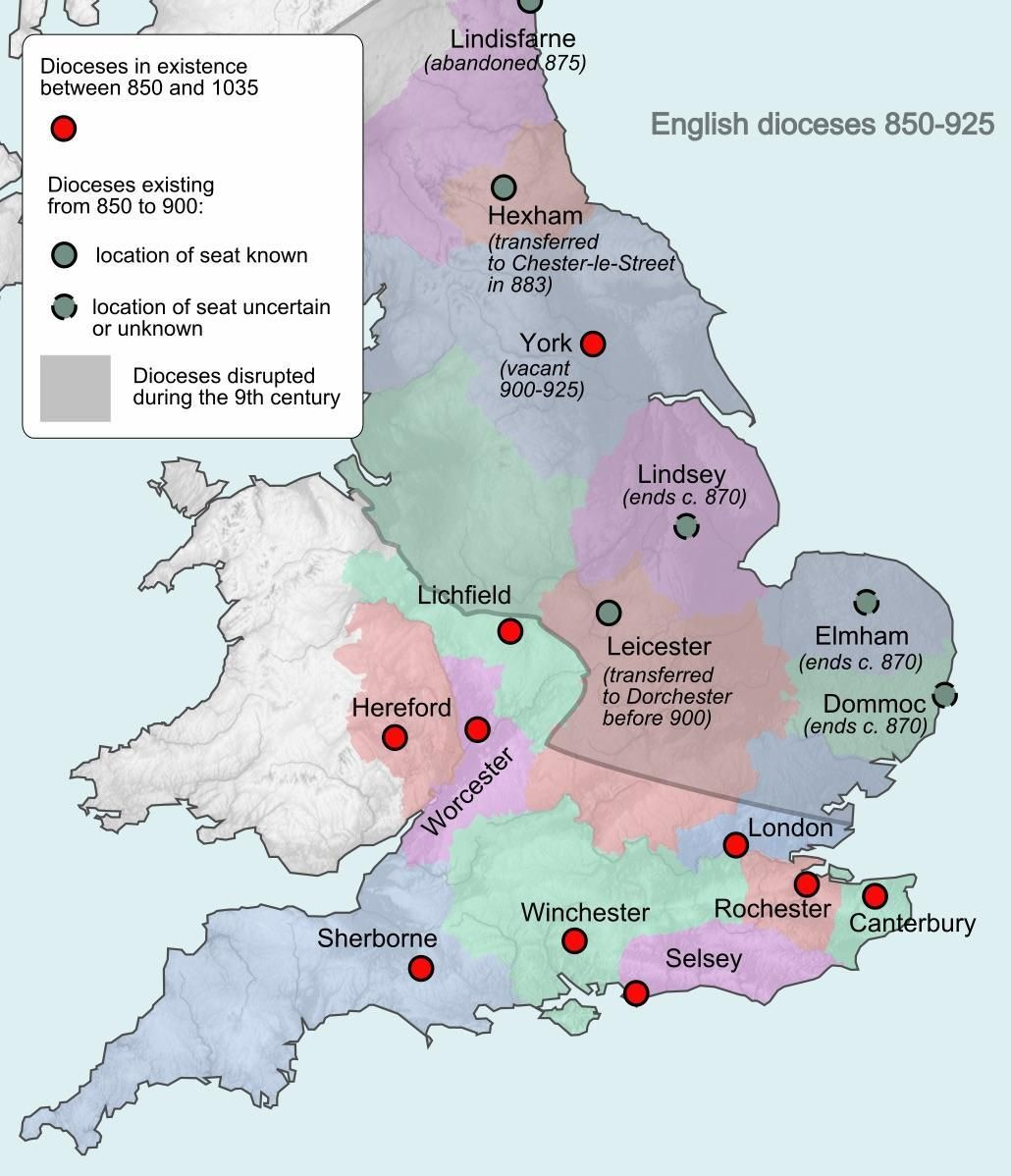 Map Of England 850.Map Of English Dioceses In 850 1035 English History Map Anglo