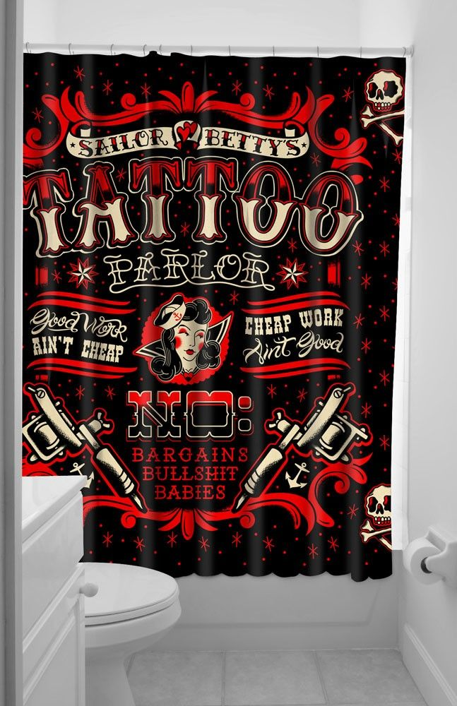 Ordinary Sourpuss Shower Curtain Part - 11: SOURPUSS SAILOR BETTY SHOWER CURTAIN - Housewares | Homey Stuff | Pinterest  | Retro Tattoos And Apartments