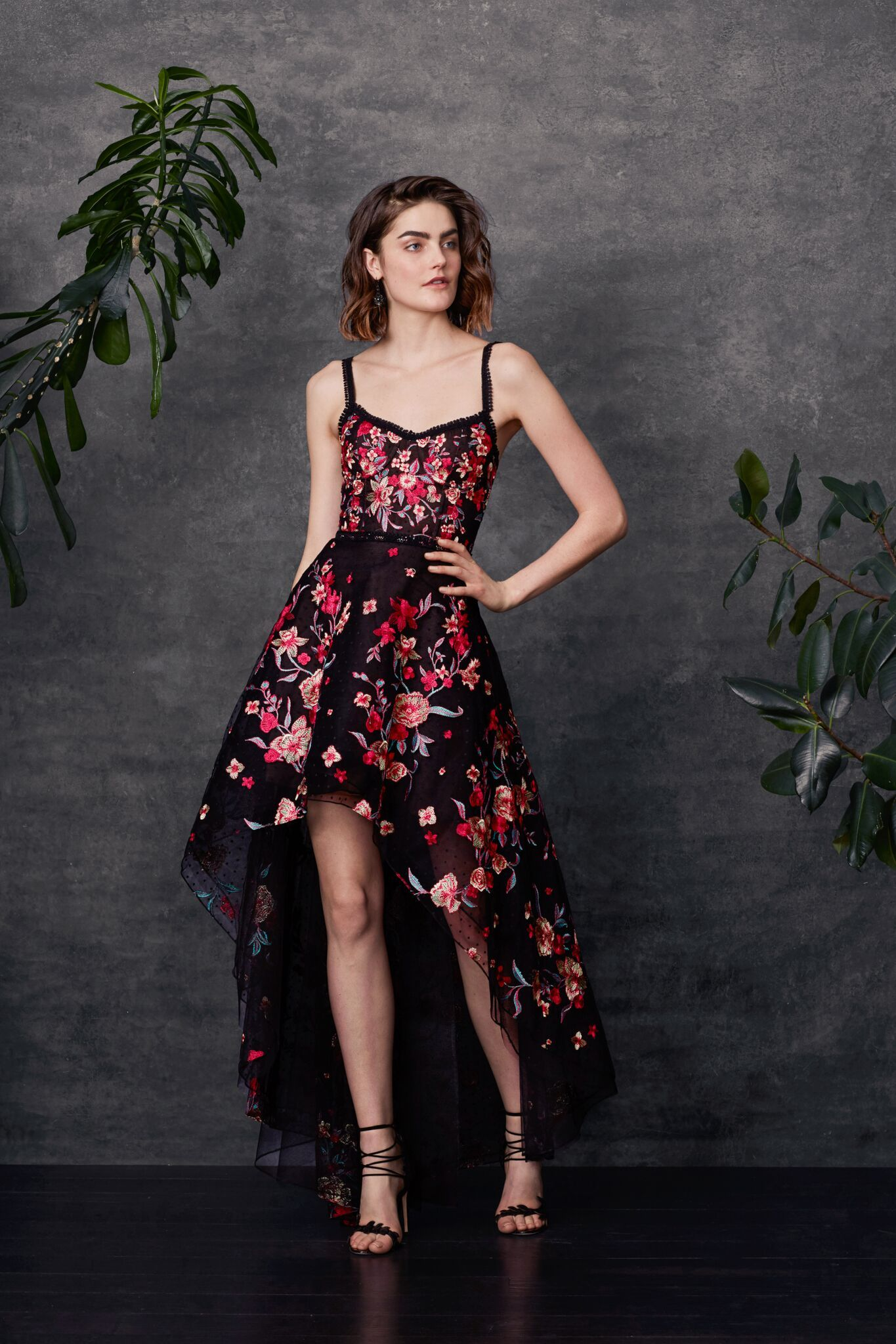 Sleeveless high-low embroidered flocked tulle high-low gown with ...