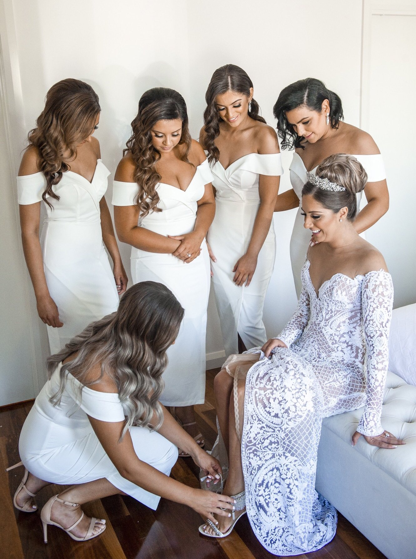 Buy White Off Shoulder Bridesmaid Dresses Simple Tea Length