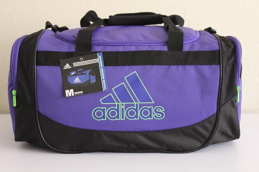 77967123f3 Adidas Defense Medium Duffel women gym bag Power Purple Solar Green  24