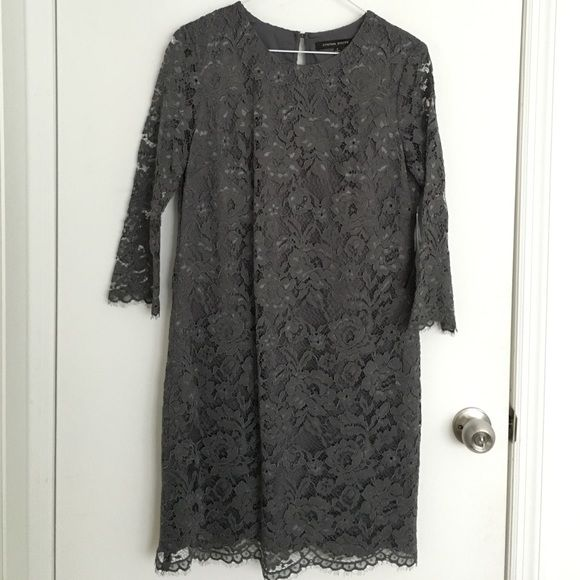DESIGNER Gray Lace Dress 6 Beautiful intricate and flirty lace dress. Designer is Cynthia Steffe. BNWT. Keyhole back. Anthropologie Dresses