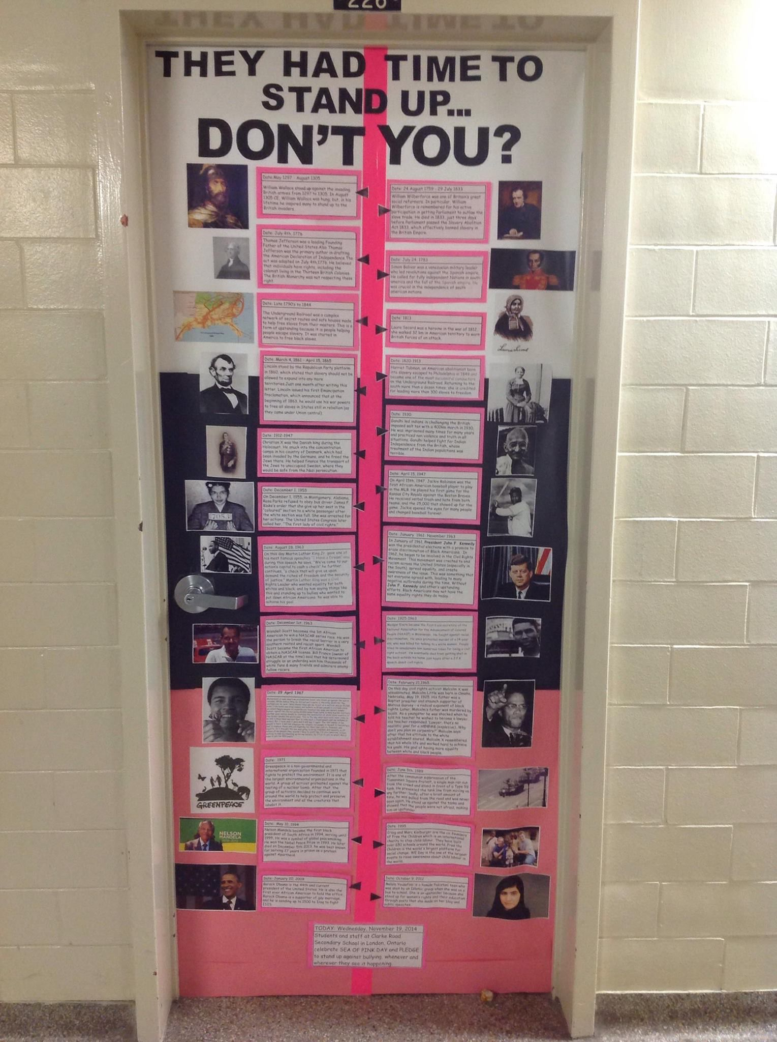 History Classroom Decorations : Upstanders throughout history anti bullying campaign door