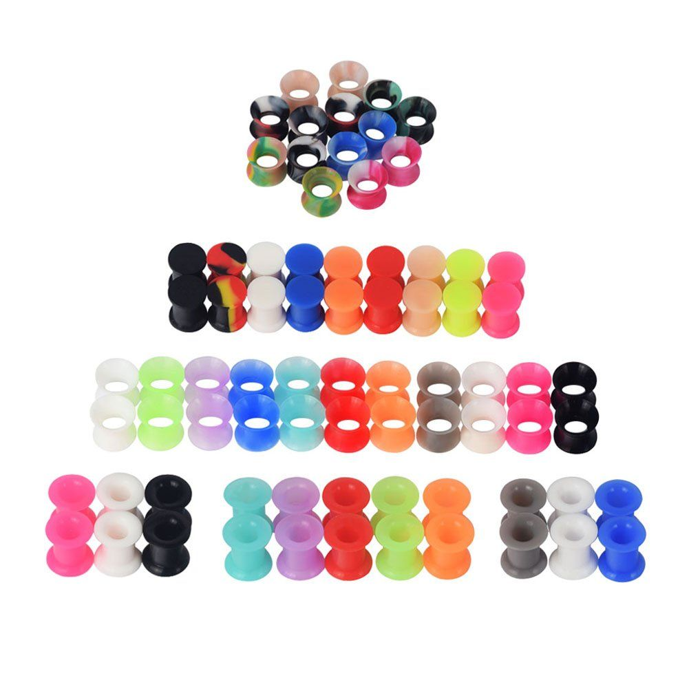 Qmcandy 38pairs Silicone Ear Plugs Tunnels With 3 Styles Saddle Hard And Soft Rubber Pure Colors And Camoufl In 2020 Silicone Ear Plugs Tunnels And Plugs Ear Piercings