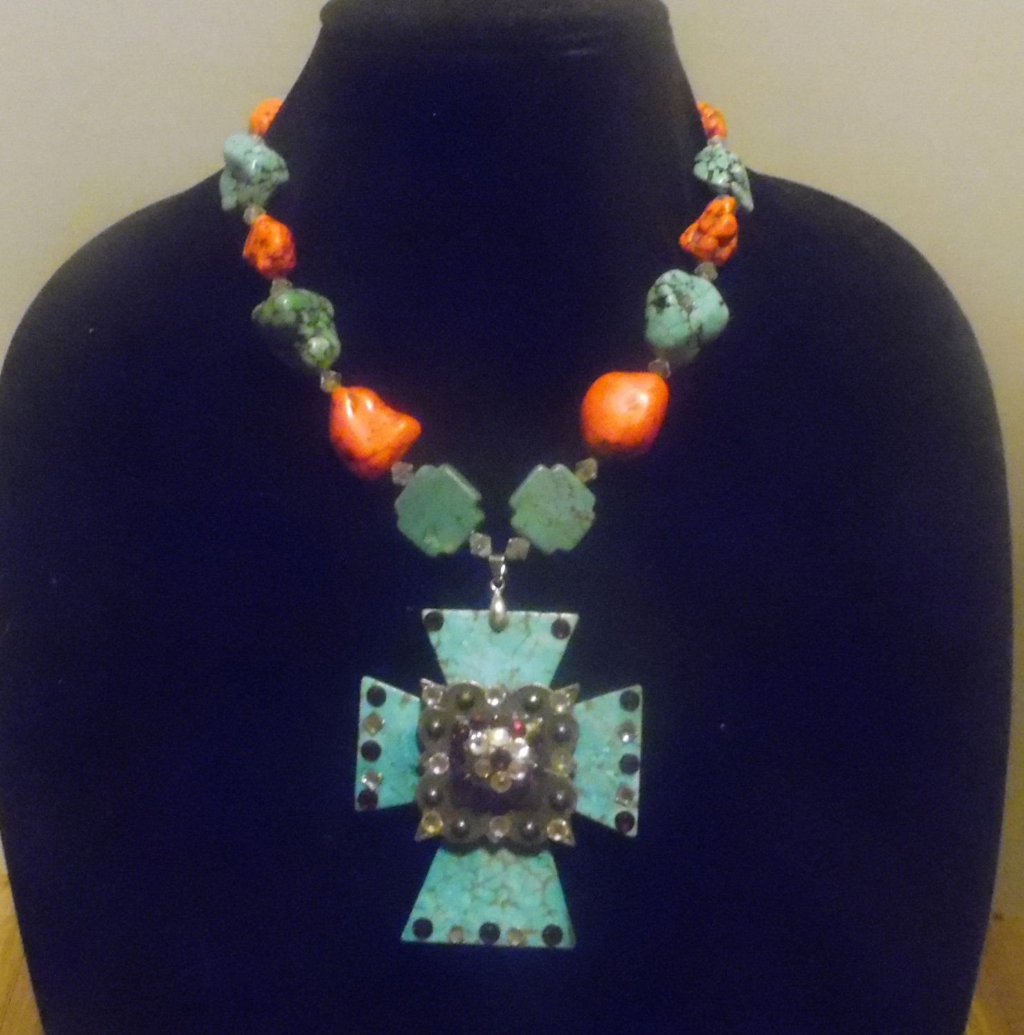 Gypsy Cowgirl Chic Turquoise Coral Concho Cross Western Statement Necklace Dramatic Christian Cowgirl Couture BOLD Sexy Hot Gift 4 Her by gypsycowgirlchic on Etsy