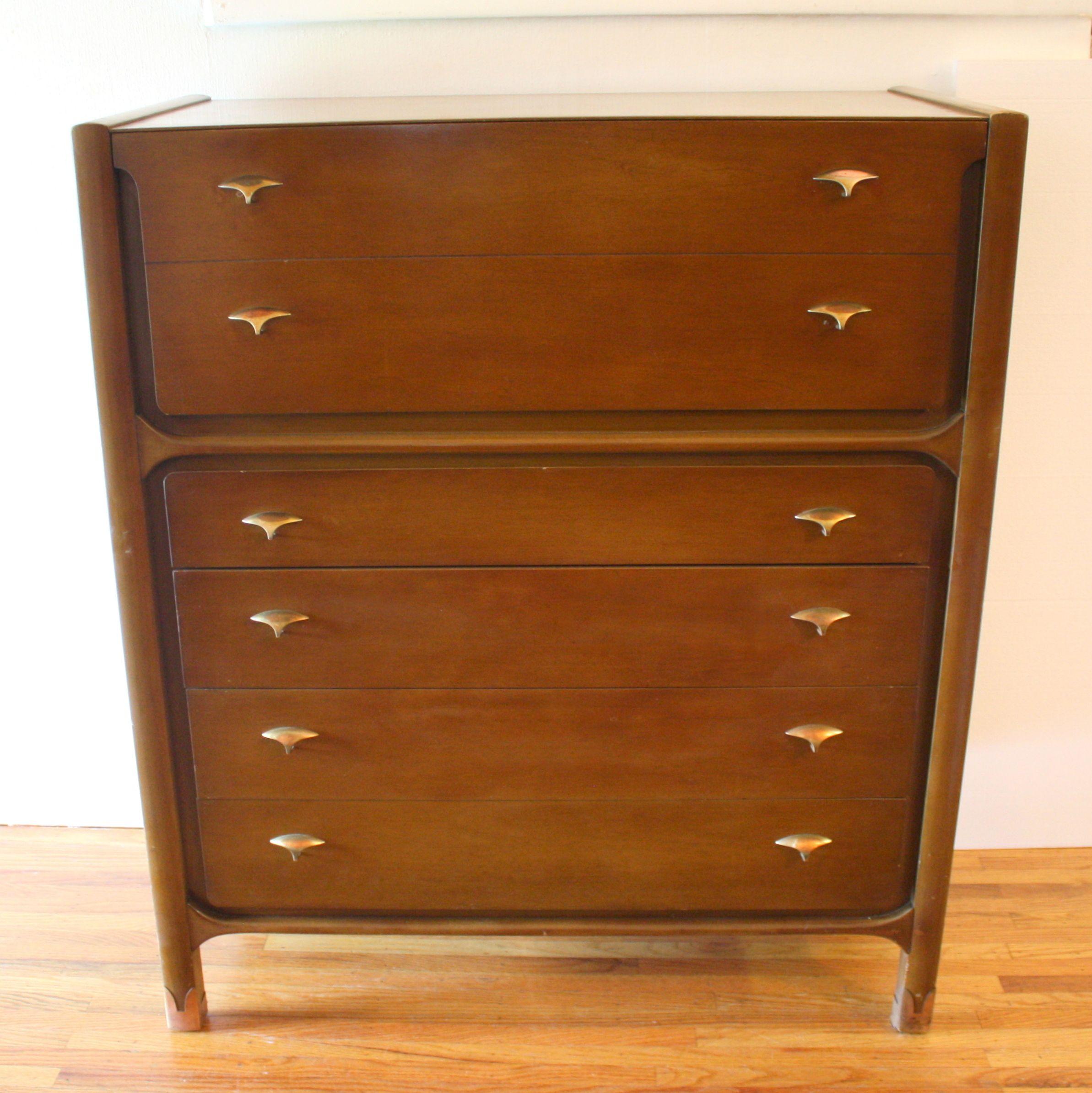 Mid century modern tall dresser by Unagusta with brass drawer pulls