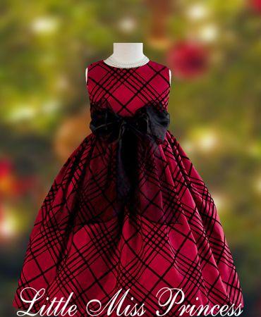 Festive Red with Black Stripe Christmas Dress:(Girls Christmas ...