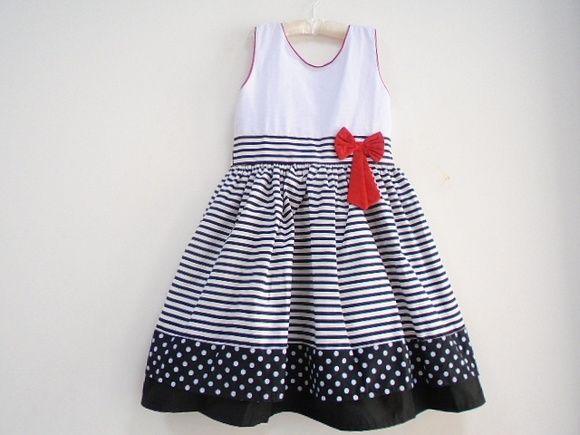 Vestido de festa infantil preto com branco
