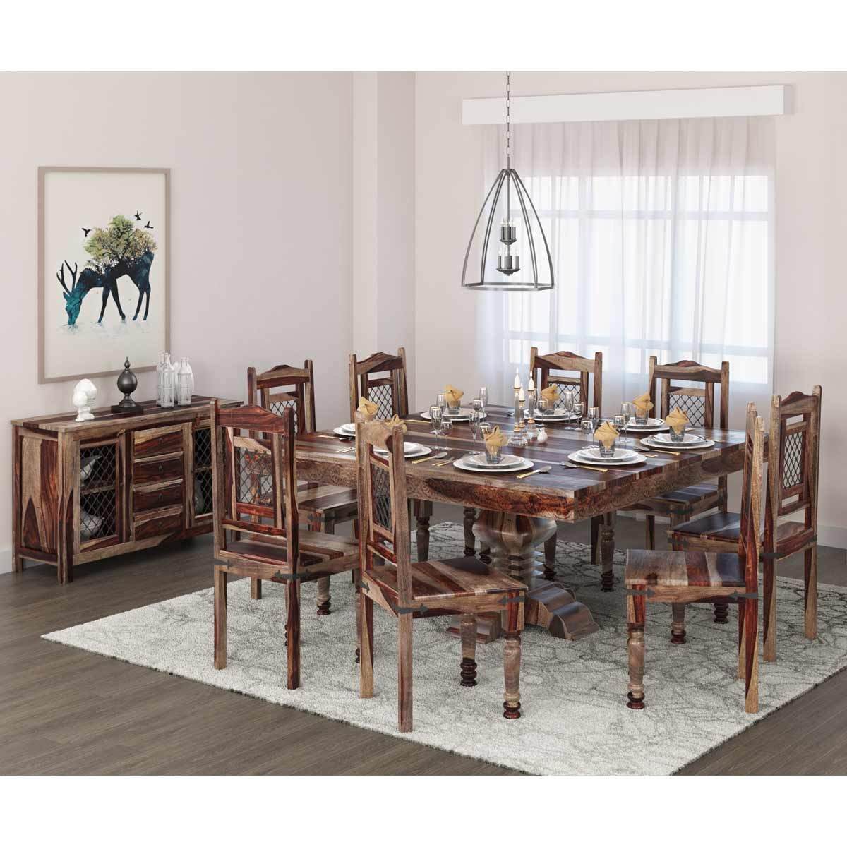 The Florida Handcrafted Rustic Solid Wood 10 Piece Dining Table Set Features A Graceful Sq Solid Wood Dining Room Set Square Dining Tables Dining Table Setting