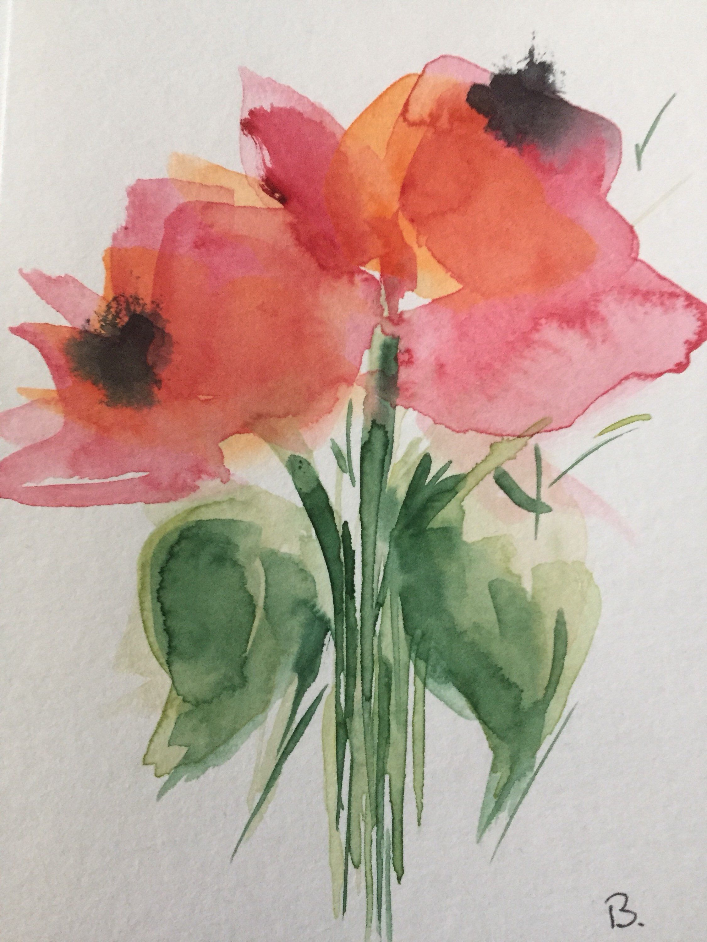 Original Aquarell Aquarellpostkarte Blumen Watercolor Flowers