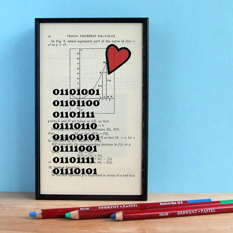 I Love You\' Binary Book Page Print | Math textbook and Gift