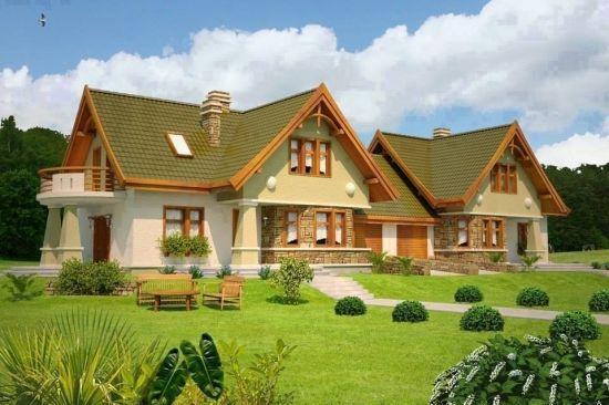 fatade case insiruite cu acoperis verde proiecte case