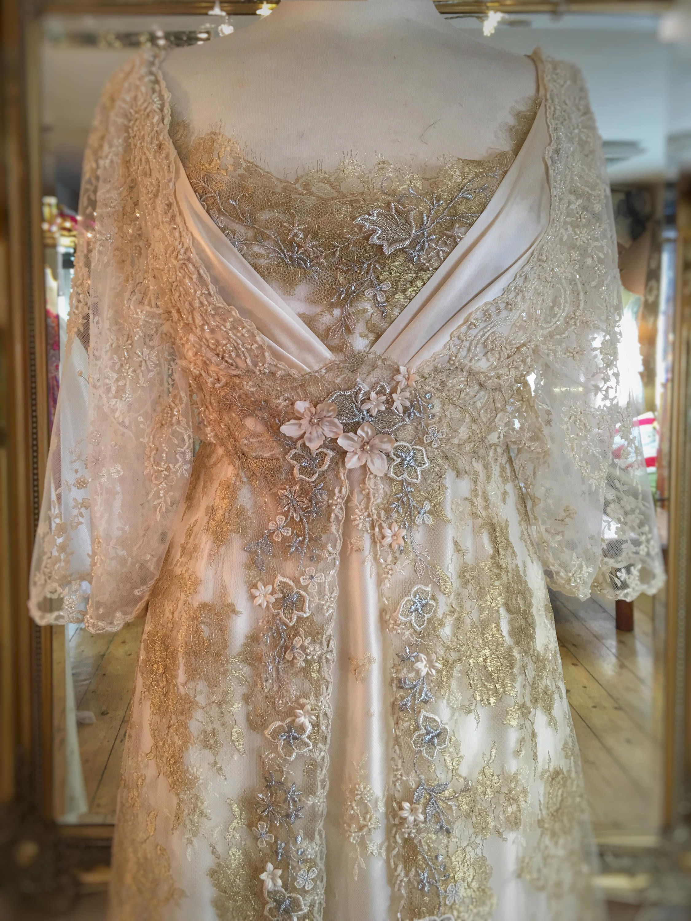 Pale Gold Cream Silk Edwardian Inspired Wedding Dress | Pinterest ...
