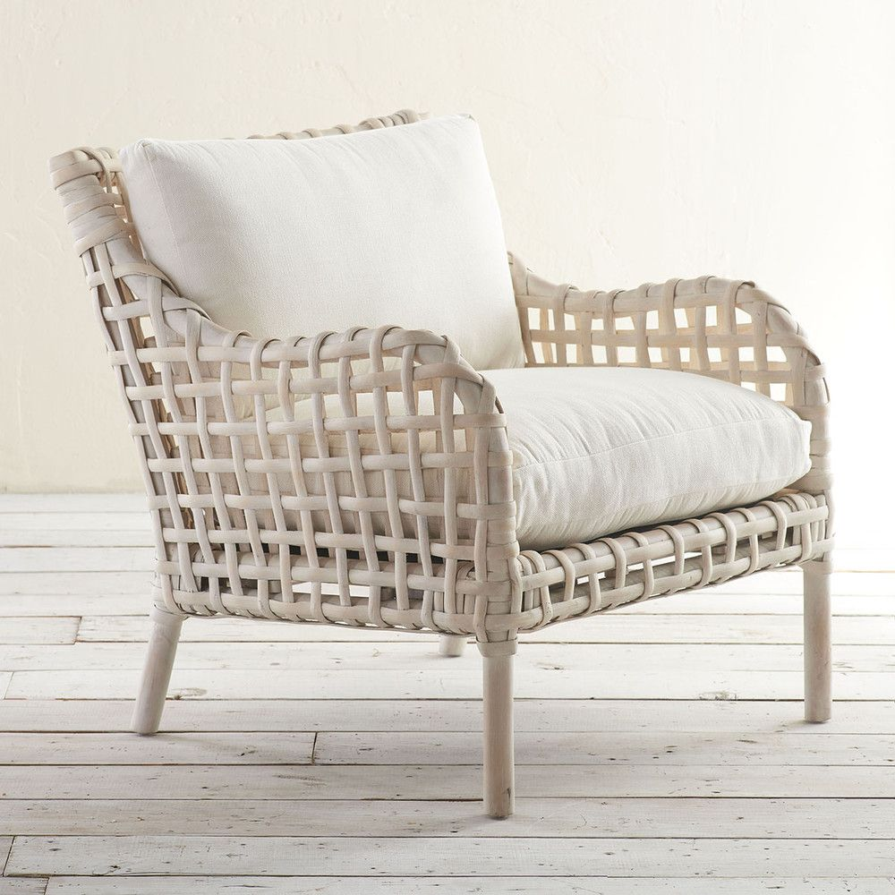 Abaco Chair. Wisteriau0027s Whitewashed Woven Rattan Chair. The Mahogany  Frameu0027s Classic Shape Is Offset